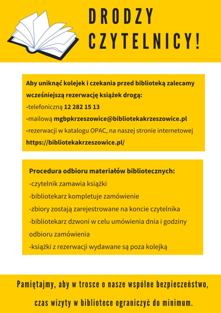 plakat informujący o rezerwacji książek i sposobie odbioru ksiązek