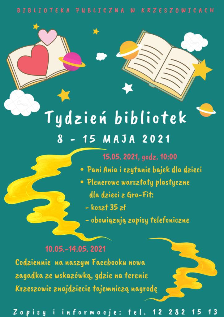 plakat Tygodnia Bibliotek w krzeszowickiej bibliotece