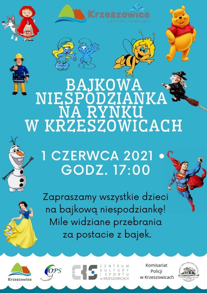 Plakat promujący wydarzenie dla dzieci na Rynku w Krzeszowicach