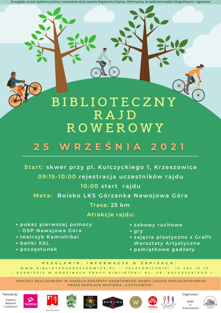 Plakat informujący o Bibliotecznym Rajdzie Rowerowym