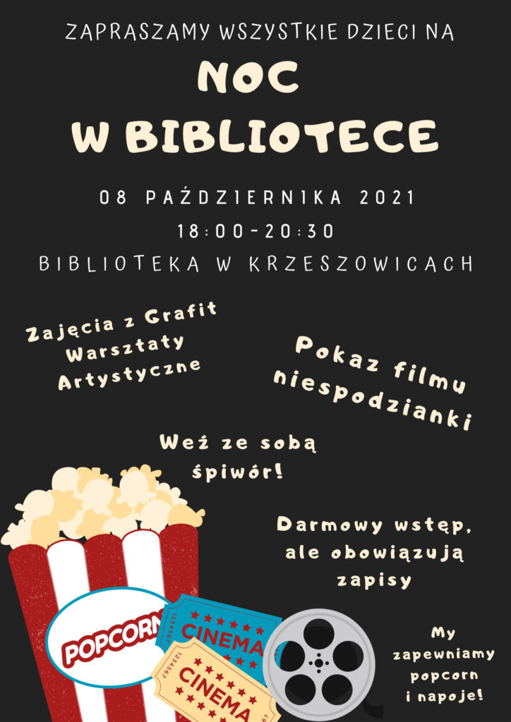 plakat informujący o wydarzeniu Noc w bibliotece