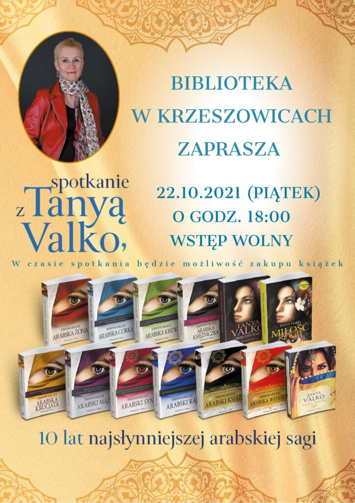 plakat informujący o spotkaniu autorskim z Tanyą Valko